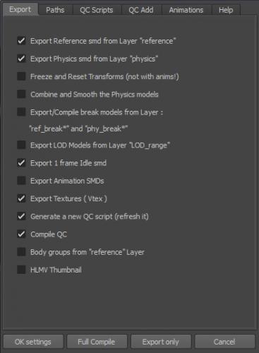 Export tab of the mesa option panel.