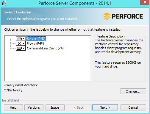 perforce-install-destination