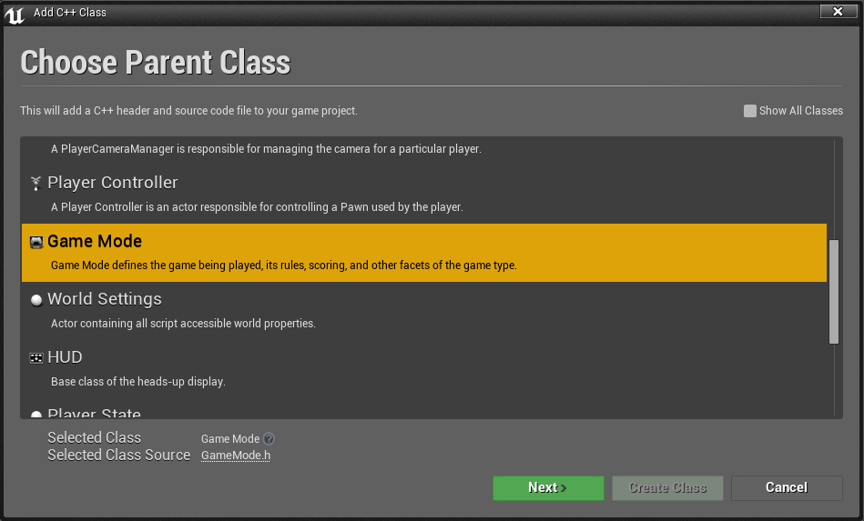 ue4-add-module-support-add-gamemode-class