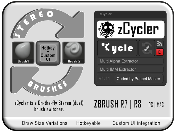 Zbrush Plugin] zCycler : Brush cycle (Free) — polycount